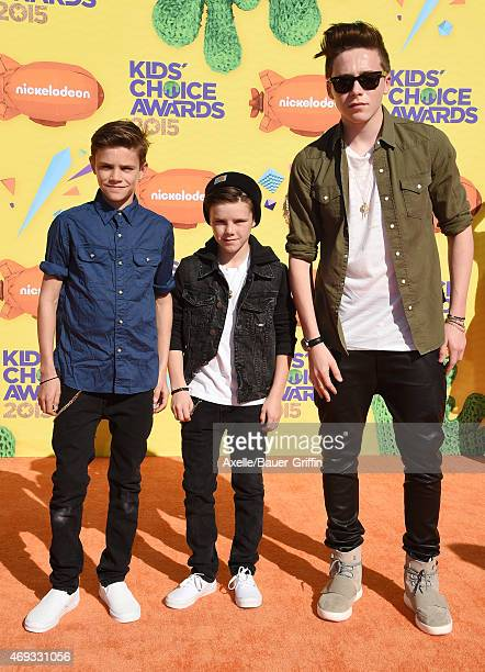Romeo Beckham Cruz Beckham and Brooklyn Beckham arrive at Nickelodeon's 28th Annual Kids' Choice Awards at The Forum on March 28 2015 in Inglewood...