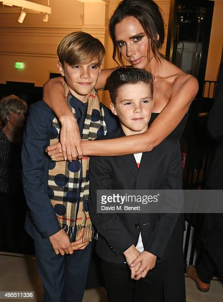 Romeo Beckham Cruz Beckham and Victoria Beckham attend the Burberry Festive film premiere at 121 Regent Street on November 3 2015 in London England