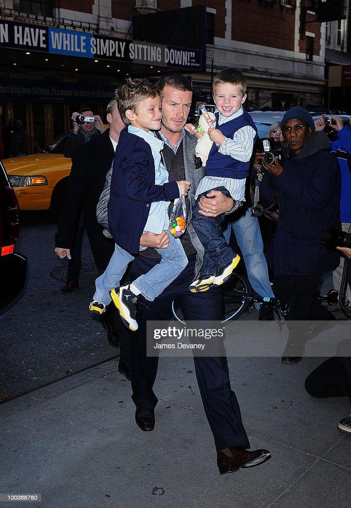 Romeo Beckham, David Beckham and Cruz Beckham arrive to the 'Jersey Boys' play on Broadway on November 28, 2008 in New York City.