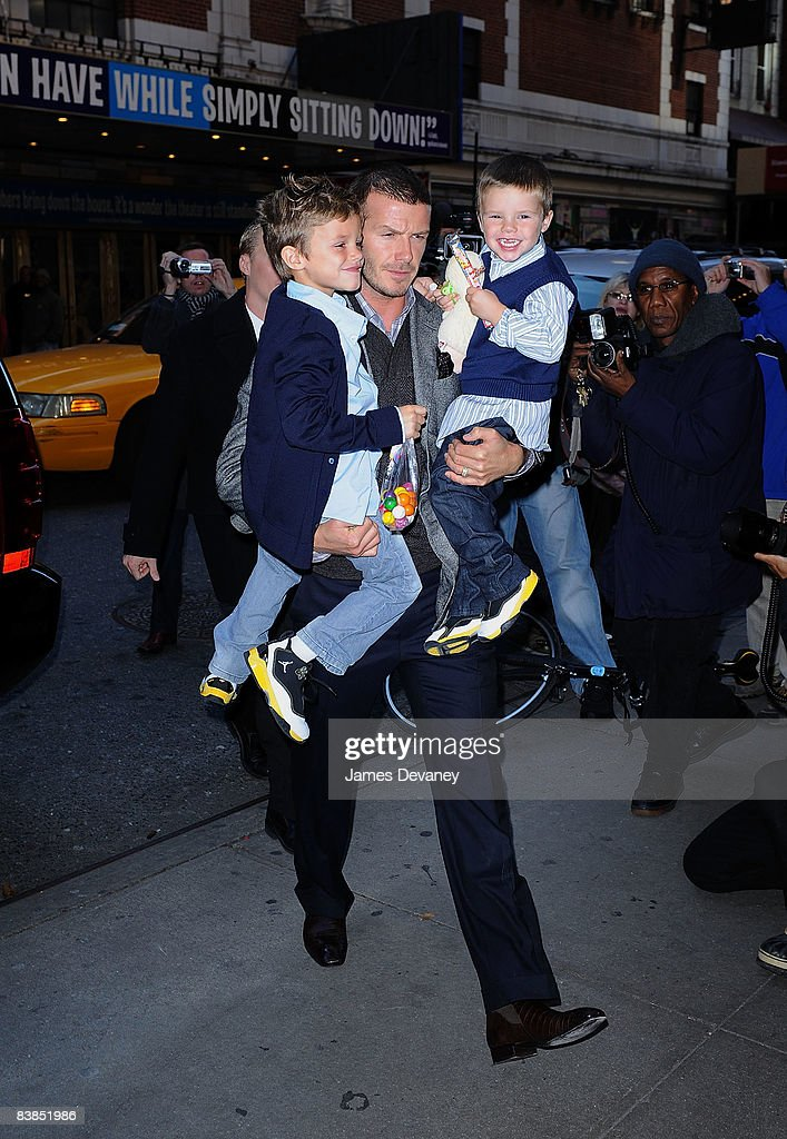 Romeo Beckham, David Beckham and Cruz Beckham arrive to the 'Jersey Boys' play on Broadway on November 28, 2008 in New York City.