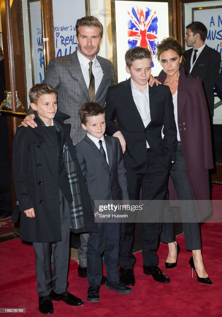Romeo Beckham, <a gi-track='captionPersonalityLinkClicked' href=/galleries/search?phrase=David+Beckham&family=editorial&specificpeople=158480 ng-click='$event.stopPropagation()'>David Beckham</a>, <a gi-track='captionPersonalityLinkClicked' href=/galleries/search?phrase=Cruz+Beckham&family=editorial&specificpeople=4337497 ng-click='$event.stopPropagation()'>Cruz Beckham</a>, <a gi-track='captionPersonalityLinkClicked' href=/galleries/search?phrase=Brooklyn+Beckham&family=editorial&specificpeople=214623 ng-click='$event.stopPropagation()'>Brooklyn Beckham</a> and <a gi-track='captionPersonalityLinkClicked' href=/galleries/search?phrase=Victoria+Beckham&family=editorial&specificpeople=161100 ng-click='$event.stopPropagation()'>Victoria Beckham</a> attend the press night of 'Viva Forever', a musical based on the music of The Spice Girls, at Piccadilly Theatre on December 11, 2012 in London, England.