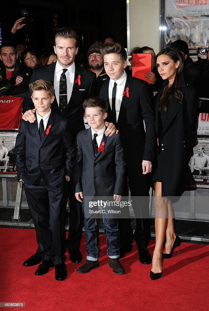Romeo Beckham, David Beckham, Cruz Beckham, Brooklyn Beckham and Victoria Beckham attend the World premiere of 'The Class of 92' at Odeon West End on December 1, 2013 in London, England.