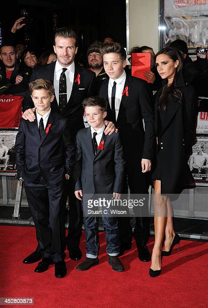 Romeo Beckham David Beckham Cruz Beckham Brooklyn Beckham and Victoria Beckham attend the World premiere of 'The Class of 92' at Odeon West End on...
