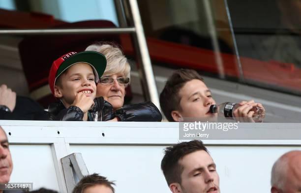 Romeo Beckham David Beckham's mother Sandra Beckham and Brooklyn Beckham watch the french Ligue 1 match between Paris SaintGermain FC and AS...