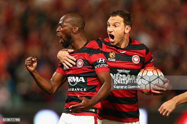 Romeo Castelen of the Wanderers celebrates scoring a goal with team mate Brendon Santalab during the ALeague Semi Final match between the Western...