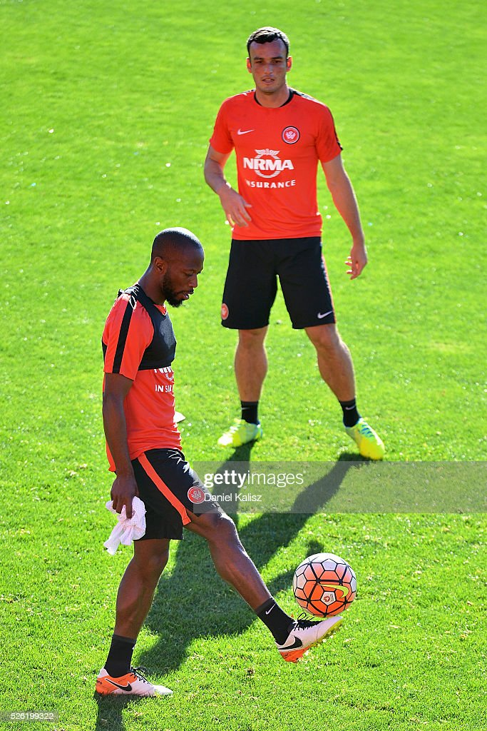 Romeo Castelen of the Wanderers controls the ball during a Western Sydney Wanderers A-League training session at Coopers Stadium on April 30, 2016 in Adelaide, Australia.