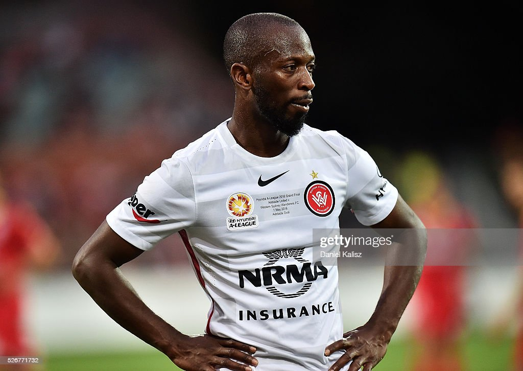 Romeo Castelen of the Wanderers reacts during the 2015/16 A-League Grand Final match between Adelaide United and the Western Sydney Wanderers at Adelaide Oval on May 1, 2016 in Adelaide, Australia.