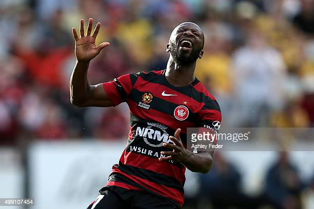 Romeo Castelen of the Wanderers reacts to a near miss at goal during the round eight ALeague match between the Central Coast Mariners and the Western...