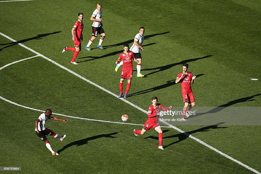 Romeo Castelen of the Wanderers strikes the ball during the 2015/16 A-League Grand Final match between Adelaide United and the Western Sydney Wanderers at the Adelaide Oval on May 1, 2016 in Adelaide, Australia.