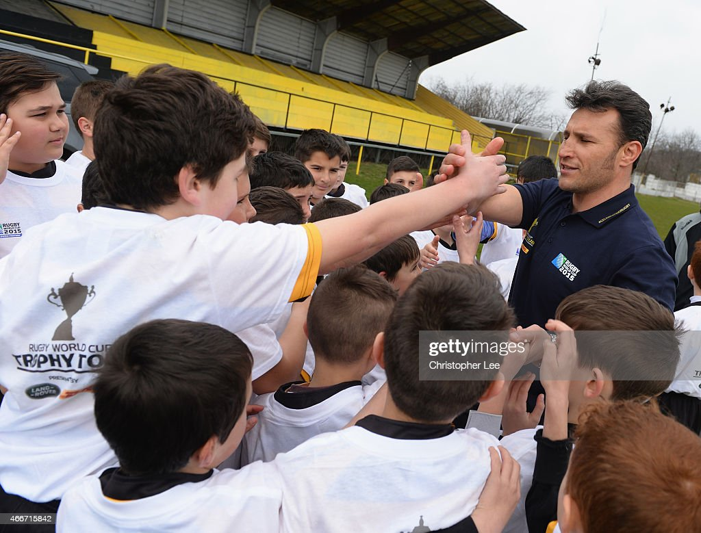 Romeo Gontineac visits Aurora Baicoi Rugby Club during Land Rover's Least Driven Path during the Rugby World Cup Trophy Tour in partnership with Land Rover and DHL ahead of Rugby World Cup 2015 on March 17, 2015 in Bucharest, Romania.