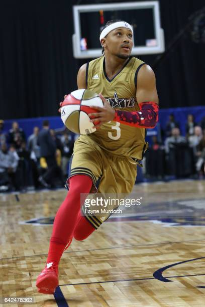 Romeo Miller of the West Team drives to the basket during the 2017 NBA AllStar Celebrity Game as part of 2017 AllStar Weekend at the MercedesBenz...