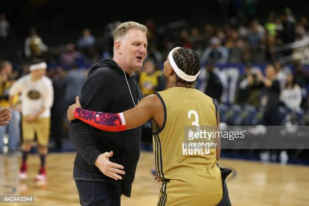 Romeo Miller of the West Team greets actor Michael Rapaport during the NBA AllStar Celebrity Game as a part of 2017 AllStar Weekend at the...