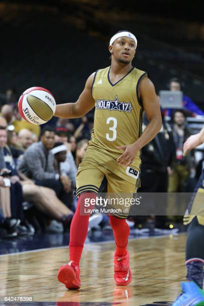 Romeo Miller of the West Team handles the ball during the 2017 NBA AllStar Celebrity Game as part of 2017 AllStar Weekend at the MercedesBenz Super...