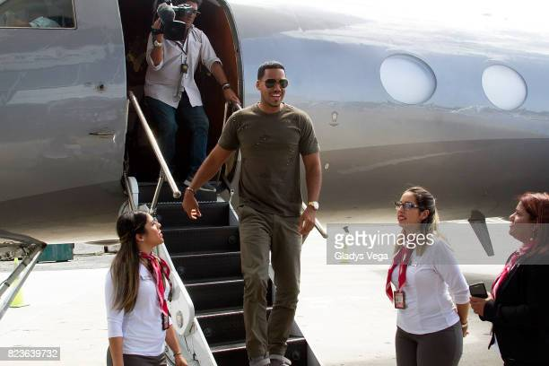 Romeo Santos arrives to Puerto Rico as part of his press conference at Luis Munoz Marin International Airport on July 27 2017 in San Juan Puerto Rico