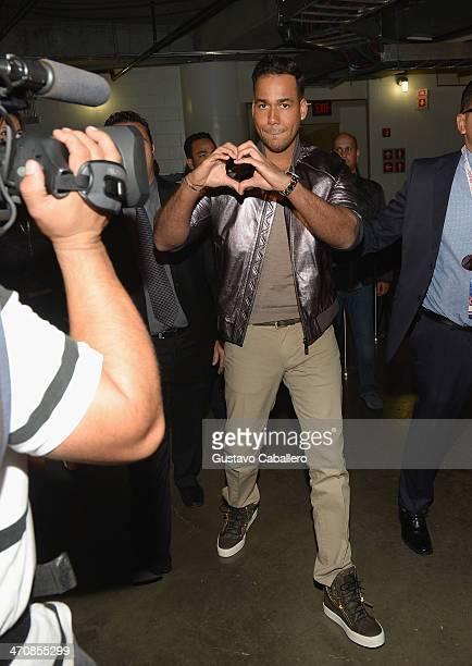 Romeo Santos poses backstage at Premio Lo Nuestro a la Musica Latina 2014 at American Airlines Arena on February 20 2014 in Miami Florida