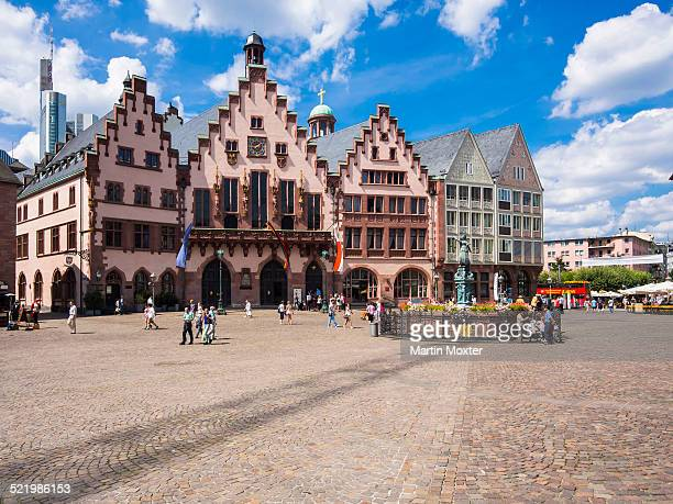 Romer town hall on Romerberg square, and Fountain of Justice with bronze statue of Justitia, Frankfurt am Main, Hesse Germany