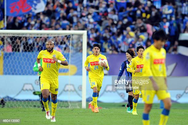 Romero Frank of Montedio Yamagata reacts after scoring his team's first goal during the Emperor's Cup final match between Gamba Osaka and Montedio...