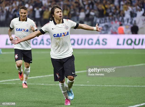 Romero of Corinthians celebrates a scored goal against Bahia during a match between Corinthians and Bahia as part of Copa do Brasil 2014 at Arena...