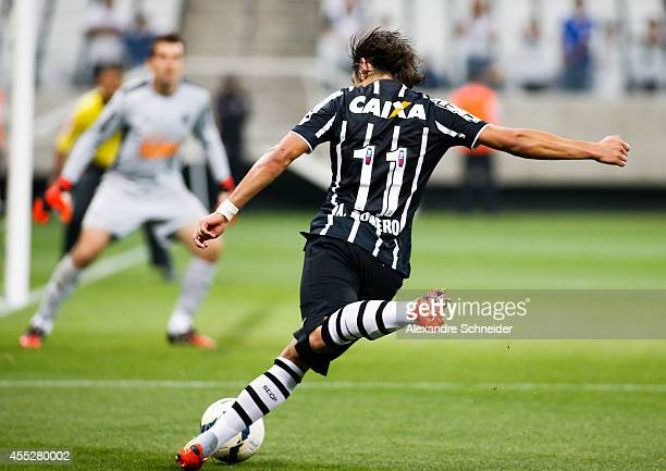 Romero of Corinthians in action during the match between Corinthians and Atletico MG for the Brazilian Series A 2014 at Arena Corinthians on...