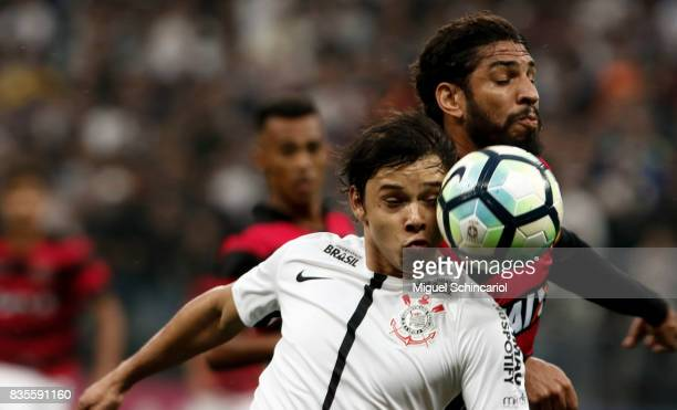 Romero of Corinthians vies the ball with Wallace of Vitoria during the match between Corinthians and Vitoria for the Brasileirao Series A 2017 at...