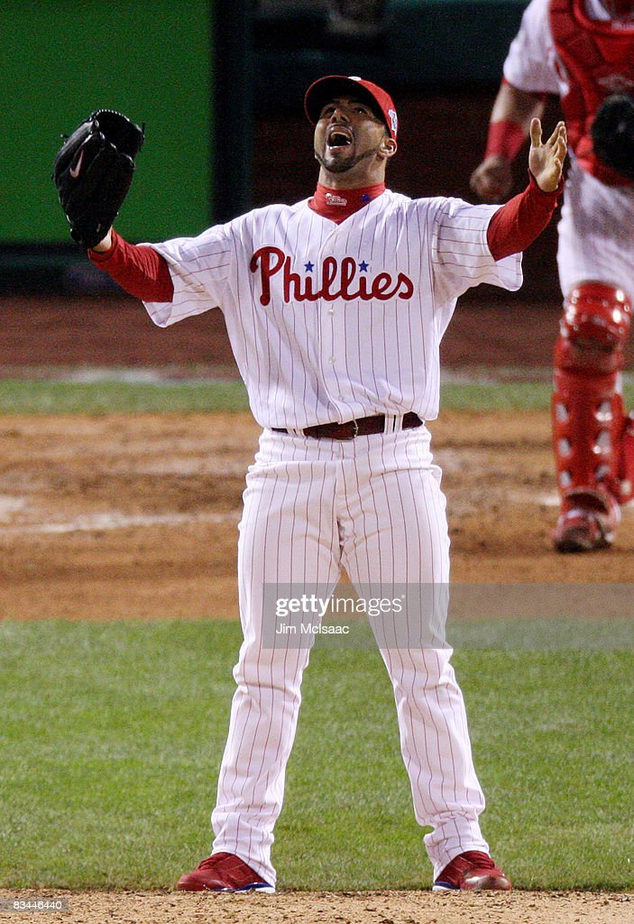 C Romero of the Philadelphia Phillies celebrates after defeating the Tampa Bay Rays to win game four of the 2008 MLB World Series on October 26 2008...