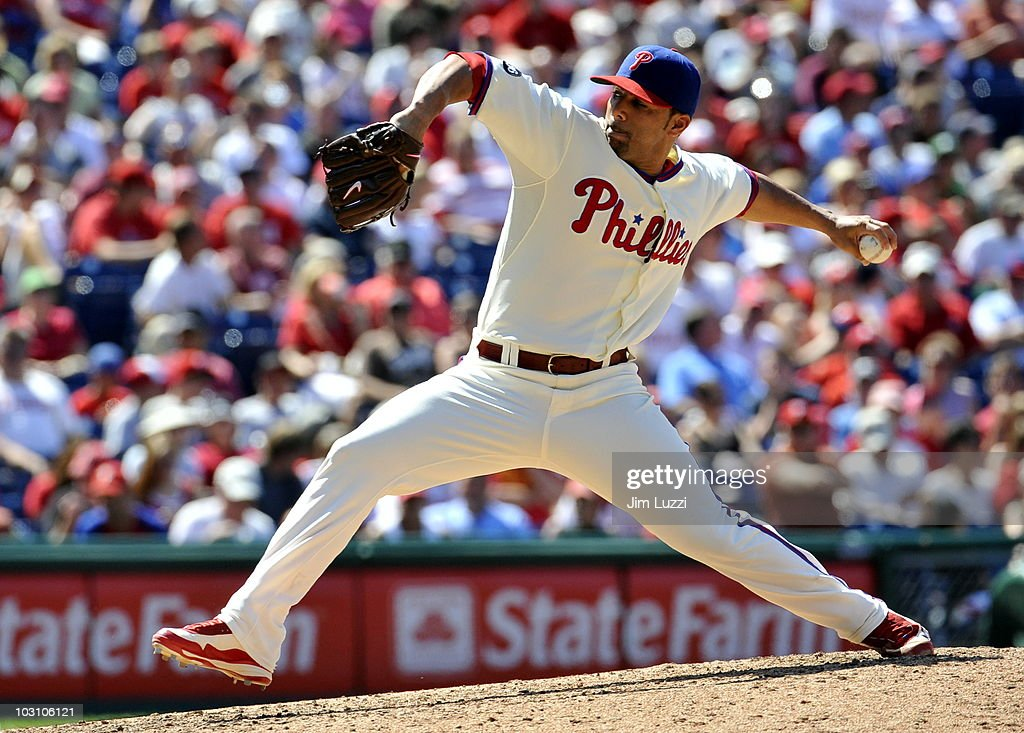 C Romero of the Philadelphia Phillies pitches against the Colorado Rockies on July 26 2010 at Citizens Bank Park in Philadelphia Pennsylvania