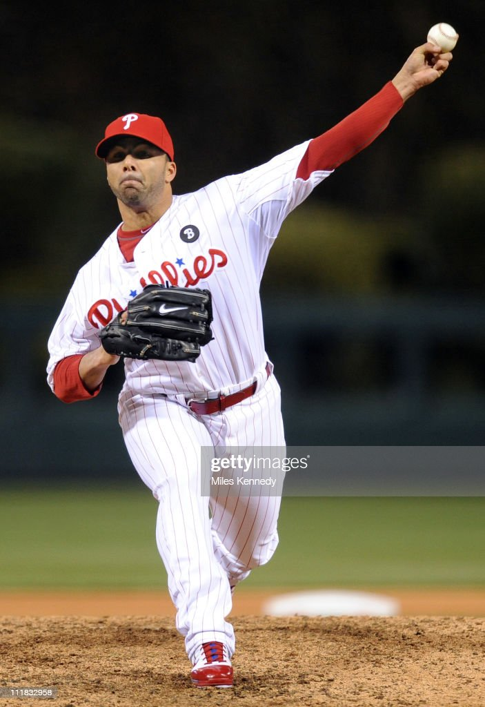 C Romero of the Philadelphia Phillies pitches against the New York Mets in the seventh inning on April 5 2011 at Citizens Bank Park in Philadelphia...