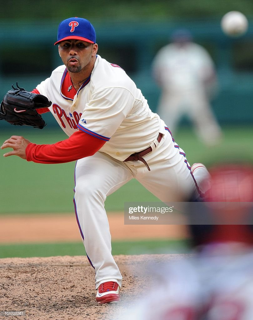C Romero of the Philadelphia Phillies pitches against the San Diego Padres in the seventh inning on June 6 2010 at Citizens Bank Park in Philadelphia...