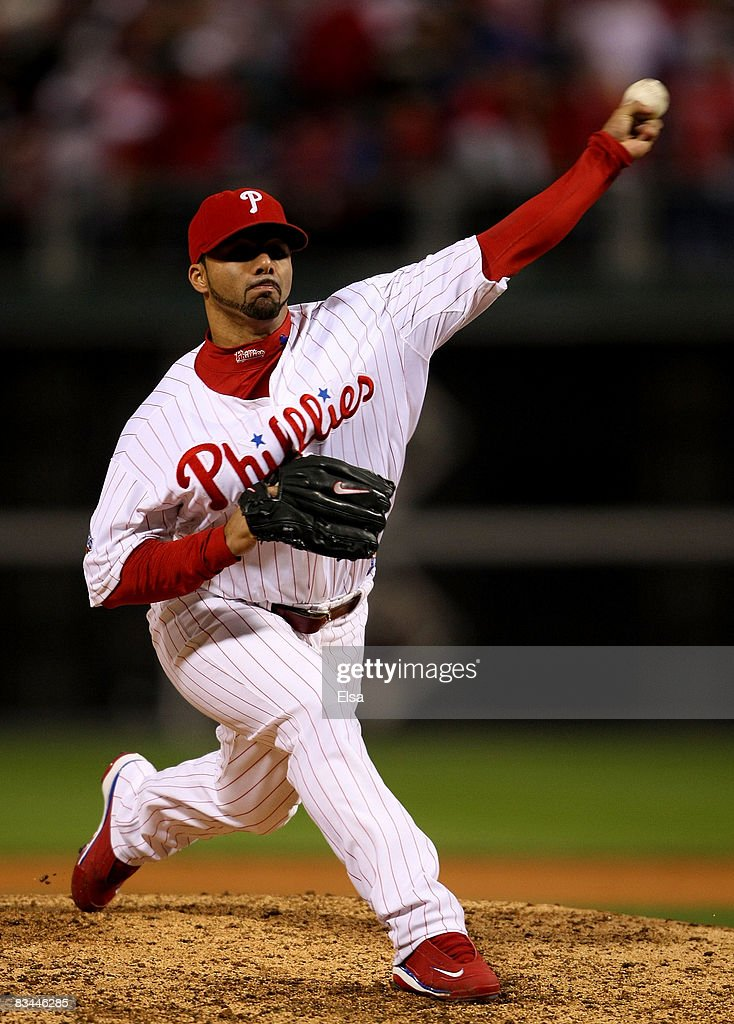 C Romero of the Philadelphia Phillies pitches against the Tampa Bay Rays to win game four of the 2008 MLB World Series on October 26 2008 at Citizens...