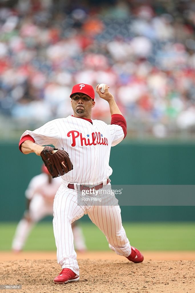 PHILADELPHIA AUGUST 23 J C Romero of the Philadelphia Phillies pitches during the game against the Los Angeles Dodgers at Citizens Bank Park in...