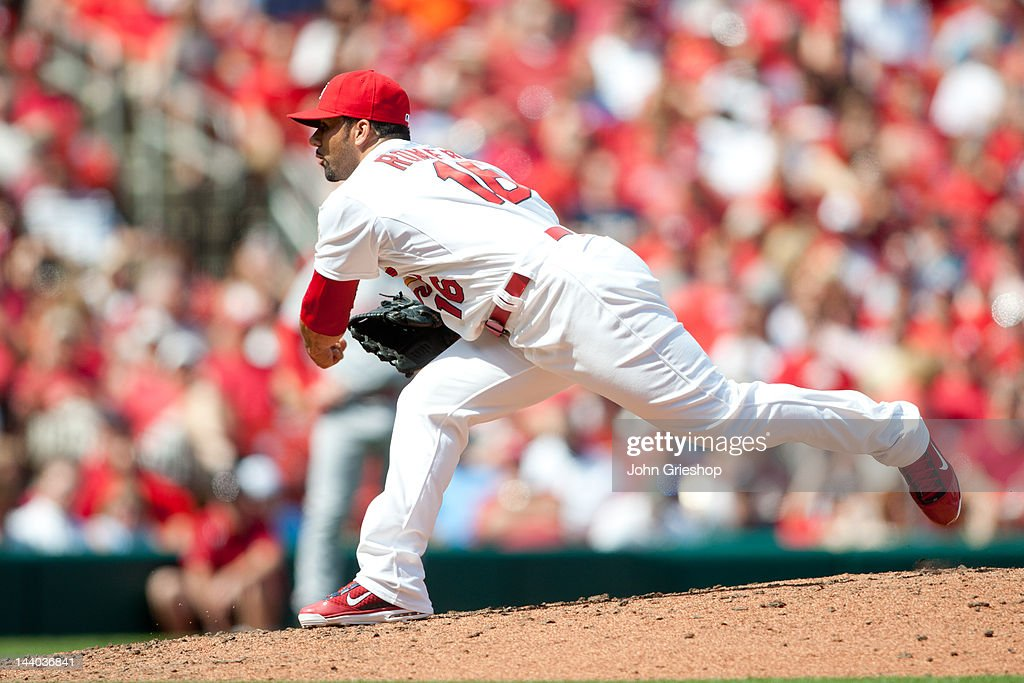 C Romero of the St Louis Cardinals delivers the pitch during the game against the Cincinnati Reds on Thursday April 19 2012 at Busch Stadium in St...