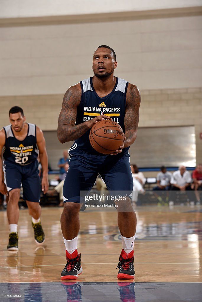 Romero Osby #24 of the Indiana Pacers prepares to shoot a free throw on July 8, 2015 at Amway Center in Orlando, Florida.
