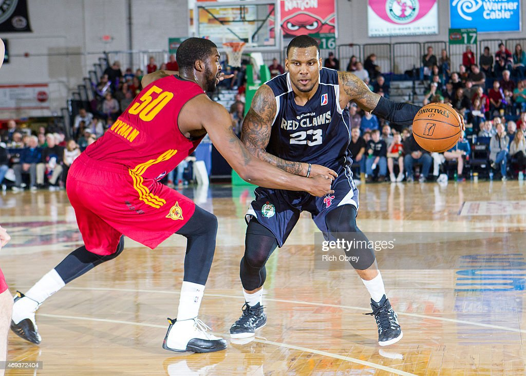 Romero Osby #23 of the Maine Red Claws drives against Travis Hyman #50 of the Fort Wayne Mad Ants during the NBA D-League Playoffs 2015, Game Two on April 11, 2015 at the Portland Expo Center in Portland, Maine.