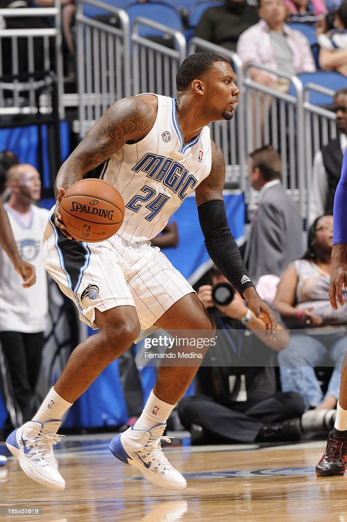 <a gi-track='captionPersonalityLinkClicked' href=/galleries/search?phrase=Romero+Osby&family=editorial&specificpeople=5757556 ng-click='$event.stopPropagation()'>Romero Osby</a> #24 of the Orlando Magic looks on against the Detroit Pistons during the game on October 20, 2013 at Amway Center in Orlando, Florida.