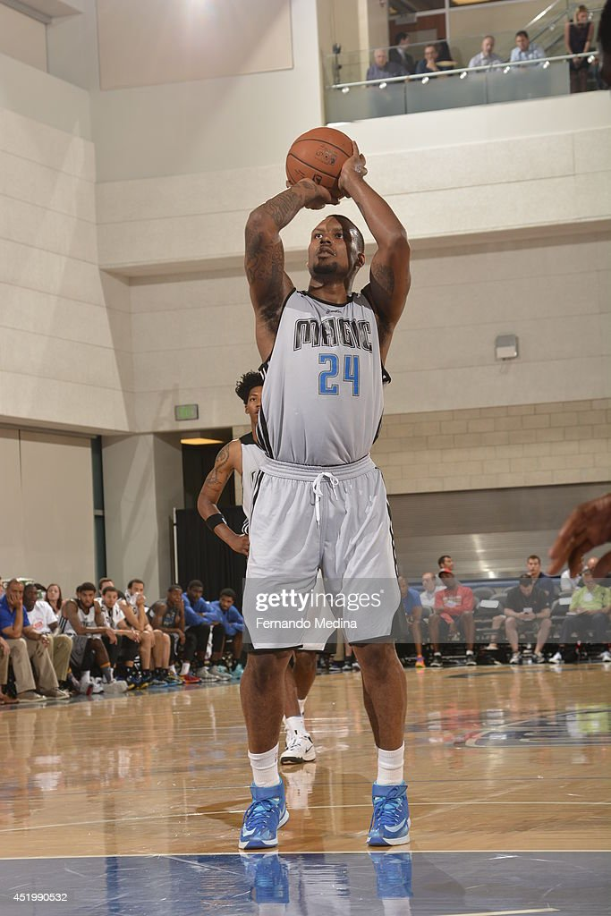 Romero Osby #24 of the Orlando Magic shoots a free throw against the Boston Celtics during the Samsung NBA Summer League 2014 on July 10, 2014 at Amway Center in Orlando, Florida.