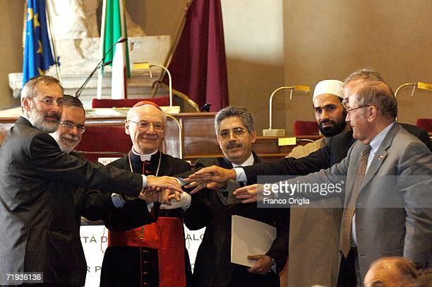 Rome's Chief Rabbi Riccardo Di Segni President of the Sant'Egidio Community Andrea Riccardi Cardinal Paul Poupard Chief of the Islamic Cultural...