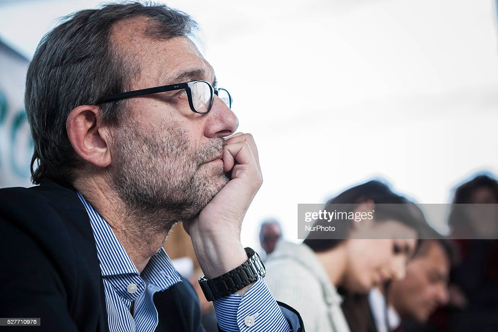 Rome's city council mayoral candidate Roberto Giachetti (Democratic Party) attends a public debate in Rome, Italy on May 03, 2016.