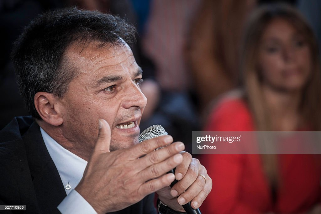 Rome's city council mayoral candidate Stefano Fassina (Italian Left) attends a public debate in Rome, Italy on May 03, 2016.