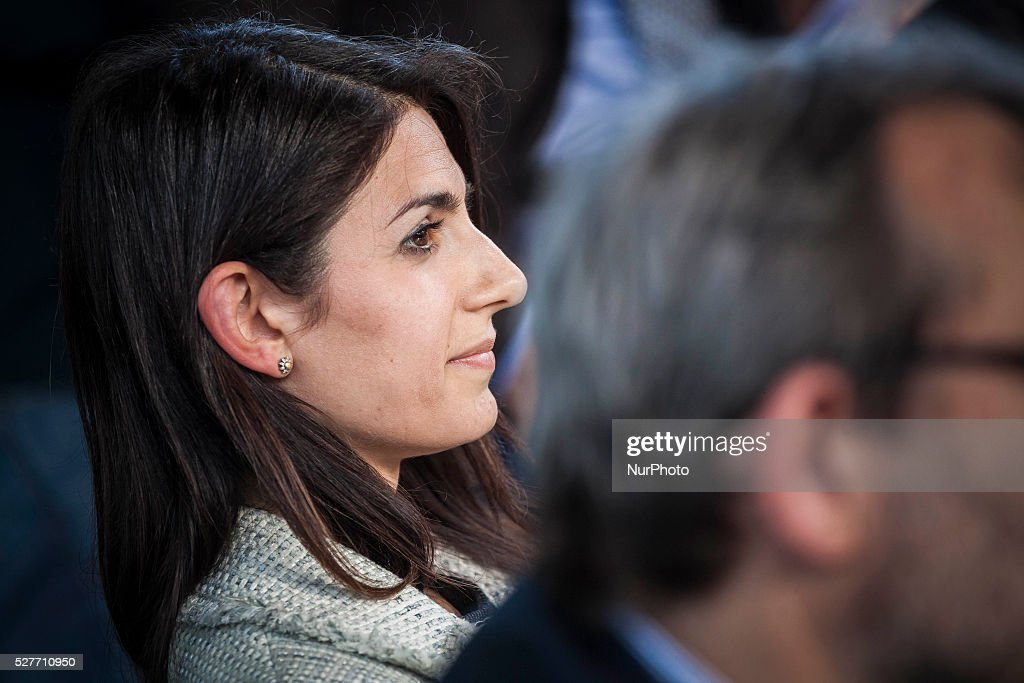 Rome's city council mayoral candidate Virginia Raggi (Five Star Movement) attends a public debate in Rome, Italy on May 03, 2016.