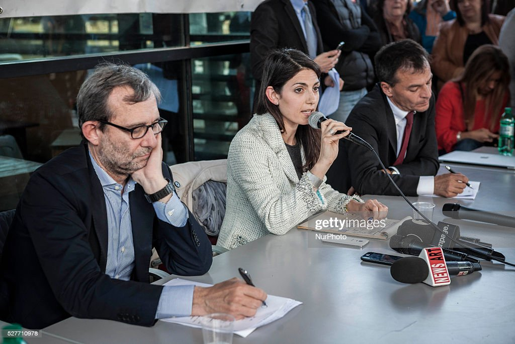 Rome's city council mayoral candidates Roberto Giachetti (L), Virginia Raggi (C) and Stefano Fassina (R) attend a public debate in Rome, Italy on May 03, 2016.