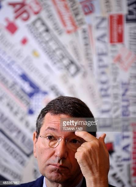 Rome's mayor Ignazio Marino attends a press conference in Rome on April 8 2014 to present the event 'Foro di Augusto 2000 anni dopo' a reconstruction...