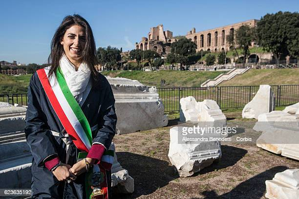 Rome's mayor Virginia Raggi attends the opening of The ancient Circus Maximus archaeological site after its restoration on November 16 2016 in Rome...