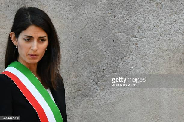 Rome's mayor Virginia Raggi is pictured at Rome City Hall on June 20 2017 in Rome / AFP PHOTO / Alberto PIZZOLI