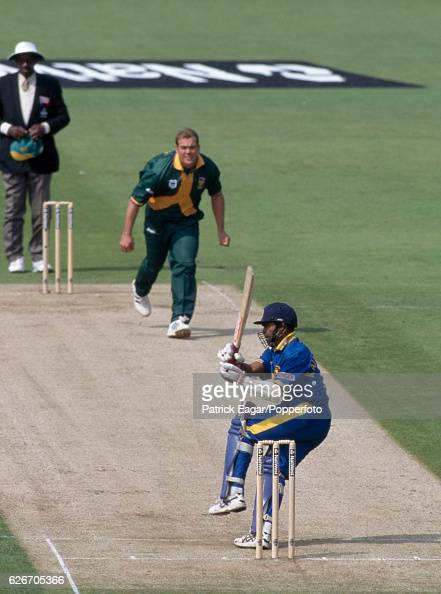 Romesh Kaluwitharana batting for Sri Lanka during the World Cup group match between South Africa and Sri Lanka at the County Ground Northampton 19th...