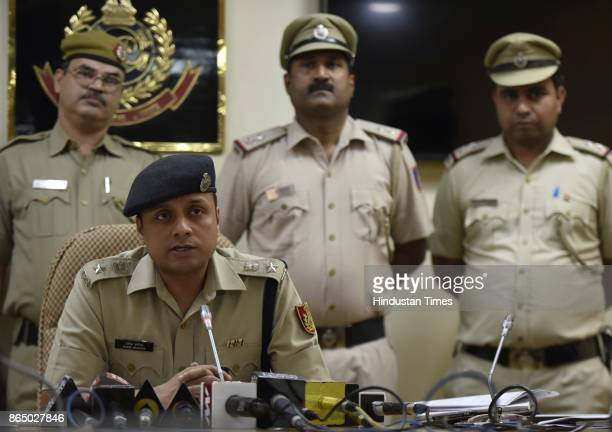 Romil Baaniya DCP South East District addresses the media with the team from Kalka Ji Police Station about the arrest of Superchor Kunal with his...