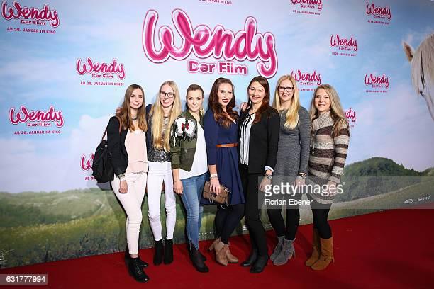 Romina Meier Lea Saskia Meyer Damiana Spoeckinger Julia Koester Lara Sophie and Anja Mertens attend the premiere of 'Wendy Der Film' at Cinedom on...