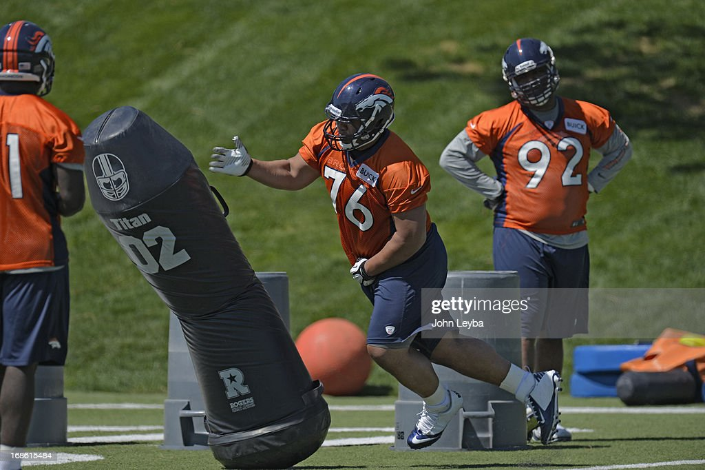 Romney Fuga (76) of the Denver Broncos runs through drills during the last day of rookie mini camp May 12, 20313 at Dover Valley