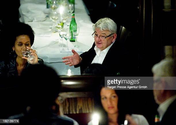 Romney MuellerWesternhagen Joschka Fischer and Minu Barati during dinner at the restaurant Nuovo Mario after Romney Mueller Westernhagen opend her...