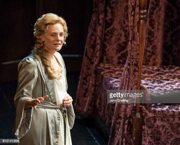 Romola Garai as Sarah Churchill performs on stage in a production of 'Queen Anne' by the RSC at Theatre Royal on July 6 2017 in London England