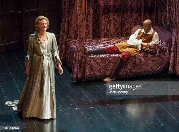 Romola Garai as Sarah Curchill and Chu Omambala as John Churchill perform on stage in a production of 'Queen Anne' by the RSC at Theatre Royal on...